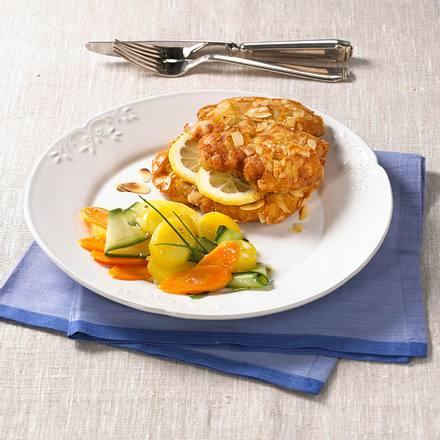 Mandelschnitzel mit Kartoffelsalat Rezept
