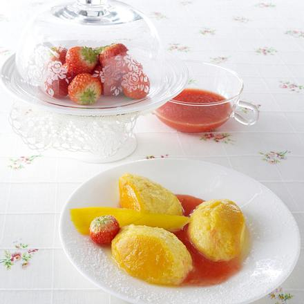 Mango-Flan mit Erdbeersoße Rezept