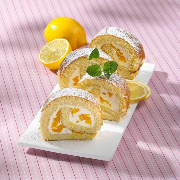 Mango-Zitronen-Biskuitrolle Rezept