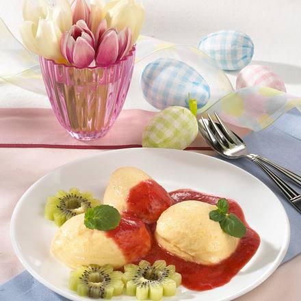 Mangoeier mit Erdbeersoße und Kiwi Rezept