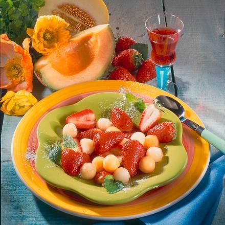 Marinierte Erdbeeren & Melone Rezept