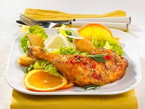 Marinierte Hähnchenschenkel mit Caesar Salat Rezept
