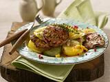 Marinierte Kalbsschnitzelchen mit Kartoffel-Gurkensalat Rezept