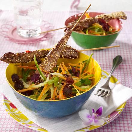marinierte sate spie e vom rind mit asia salat rezept chefkoch rezepte auf kochen. Black Bedroom Furniture Sets. Home Design Ideas