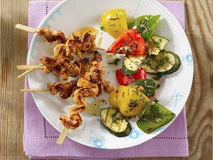 Marinierte Schnitzelspieße mit Grillgemüse Rezept
