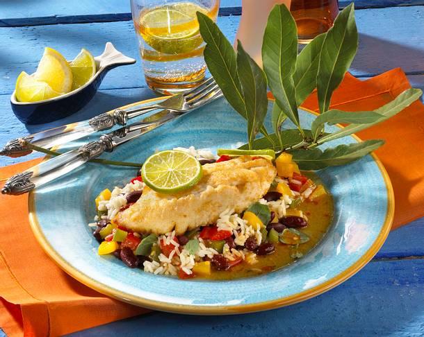 Marinierter Rotbarsch mit Bohnen-Reis Rezept