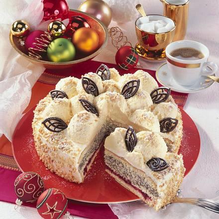 Marzipan-Mousse-Schneeball-Torte Rezept