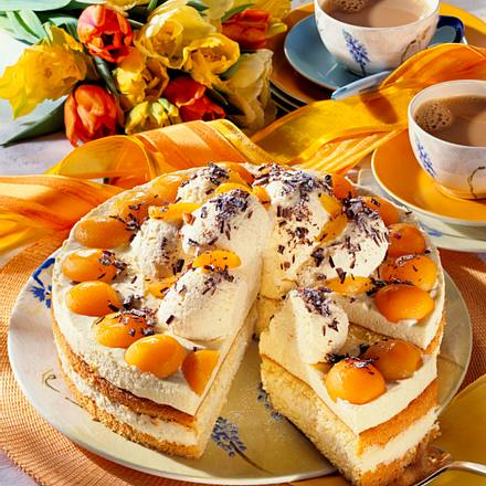 Marzipan-Mousse-Torte mit Aprikosen Rezept