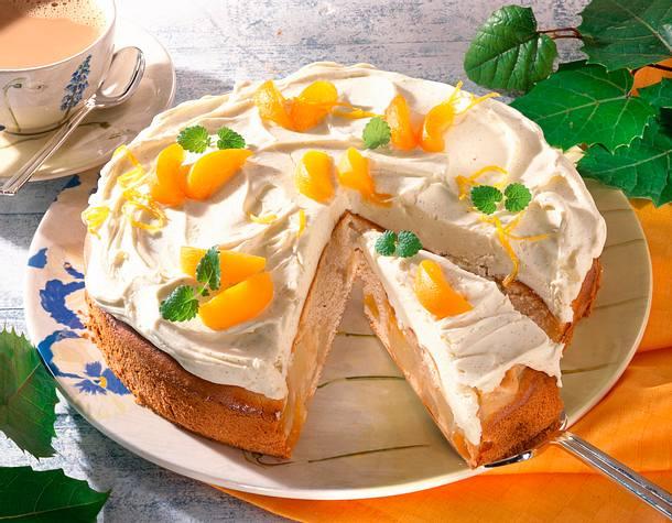 Mascarpone-Birnen-Aprikosen-Kuchen Rezept