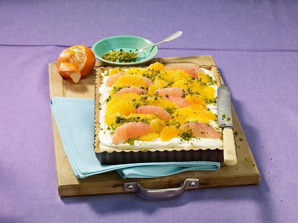 Mascarpone-Grapefruit-Tarte mit Mandarinen Rezept