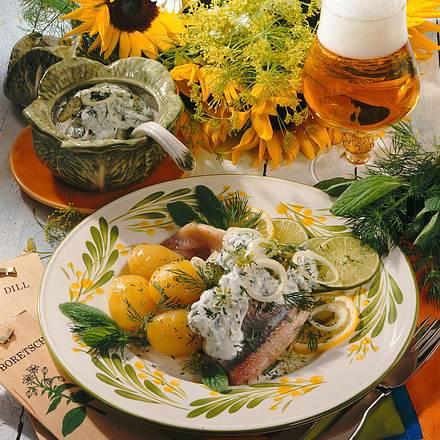 Matjes mit Kräuterdip und Kartoffeln Rezept