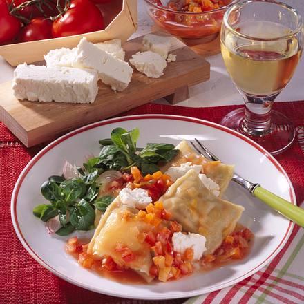 Maultaschen auf Gemüse-Tomaten-Sugo Rezept