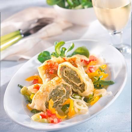 Maultaschen mit geschmortem Gemüse Rezept