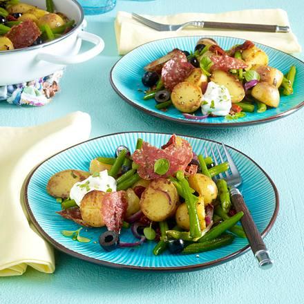 Mediterrane Kartoffel-Pfanne mit Dip Rezept
