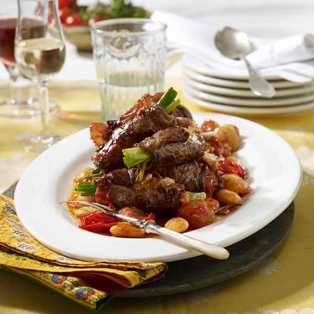 Mein Rezept Frau Bauch / Roastbeef-Röllchen mit Serranoschinken und geschmorten Bohnen Rezept