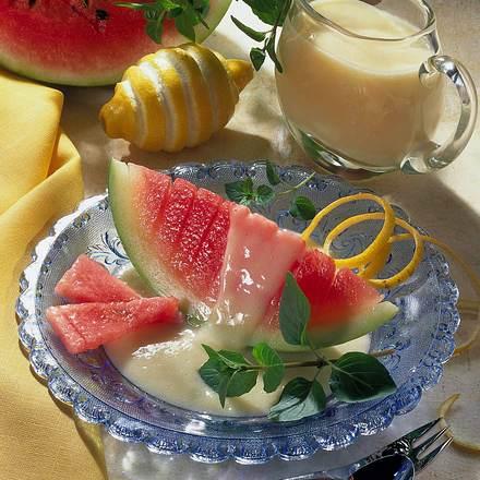 Melone mit Zitronen-Vanille-Soße Rezept