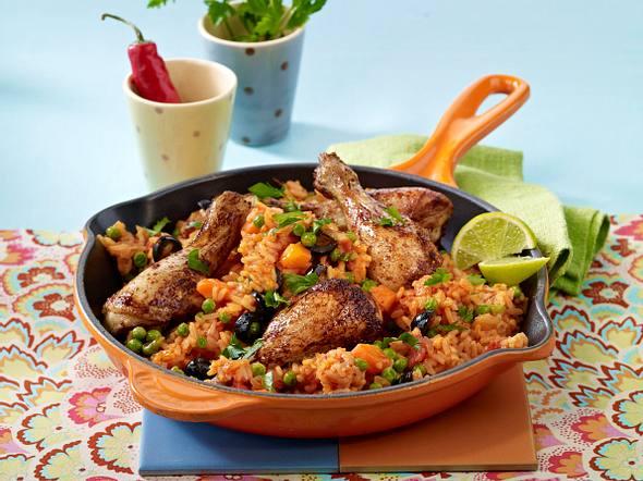Mexikanische Reispfanne mit Hähnchen Rezept