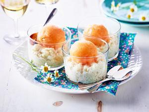 Milchreis mit Melonen-Sorbet Rezept