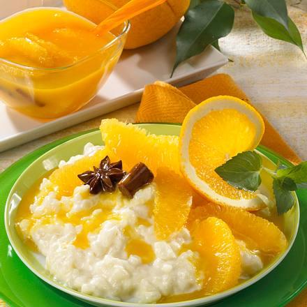 Milchreis mit Orangenkompott Rezept