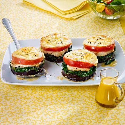 Mini-Hähnchen-Lasagne mit Spinat, Aubergine und Tomaten Rezept