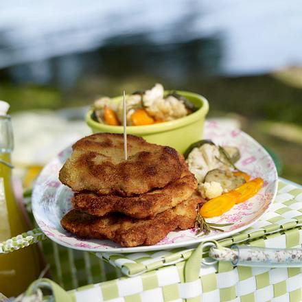 Mini-Schnitzel mit mariniertem Sommergemüse Rezept