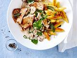 Mini-Schweineschnitzel und Pilze ind Weißweinsoße Rezept