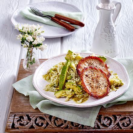 Minuten-Steaks mit Avocado-Reissalat Rezept