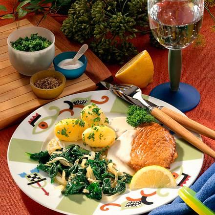 Minutensteak mit Käsesoße & Spinat Rezept