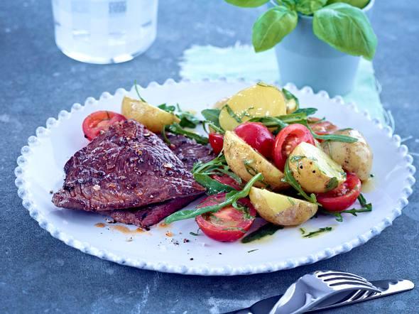 Minutensteak mit Kartoffel-Rauke-Salat Rezept