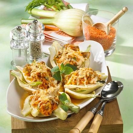 Mit Linsenrisotto gefüllter Fenchel mit Parmesan überbacken Rezept