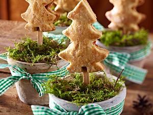Mit Trockenfrüchten gefüllte Weihnachtsbaum-Kekse am Stiel Rezept
