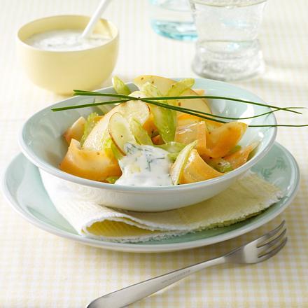 Möhren-Apfel-Salat mit 2 Dips Rezept