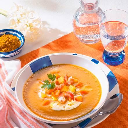 Möhren-Curry-Suppe mit Krabben Rezept