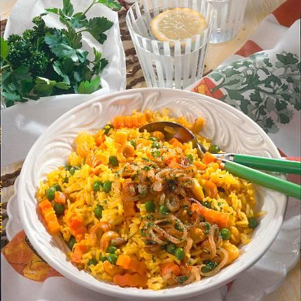 Möhren-Reis mit Cashewkernen Rezept