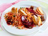 Möhren-Rote-Bete-Rohkost mit Hähnchenfilet Rezept