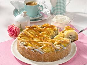 Mohn-Apfelkuchen mit Teiggitter Rezept
