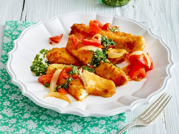 Mozzarella-Sticks mit geschmolzenen Tomaten und Mojo-Verde Rezept