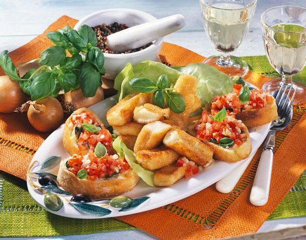 Mozzarella-Sticks mit Tomaten-Crostini Rezept