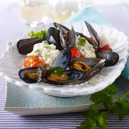 Muschel-Kirschtomaten-Risotto mit Petersilie Rezept