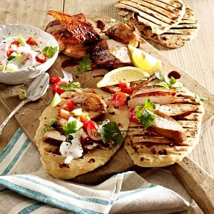 Naanbrot mit Hähnchen und Joghurt-Dip Rezept
