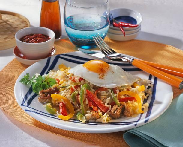 Nasi Goreng mit Schnitzel Rezept