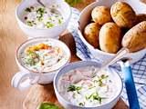 Neue Kartoffeln mit dreierlei Dips Rezept