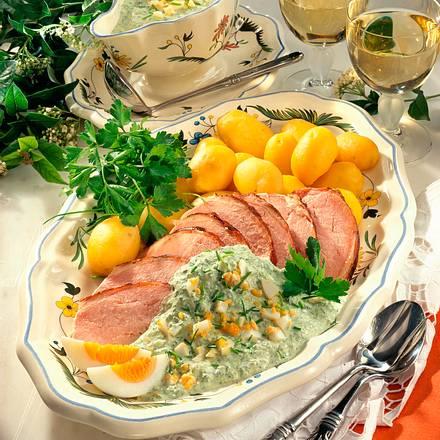 Neue Kartoffeln mit Kasseler und grüner Soße Rezept