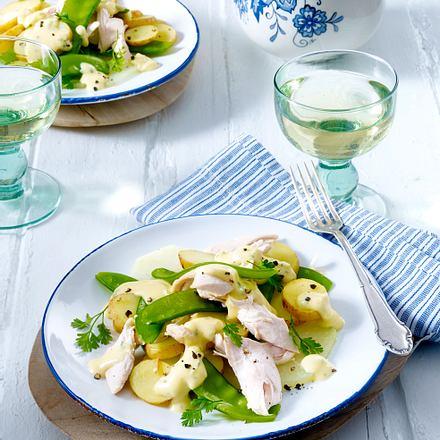 Neue Kartoffeln mit Kerbel-Hollandaise zu Hähnchenfilet Rezept