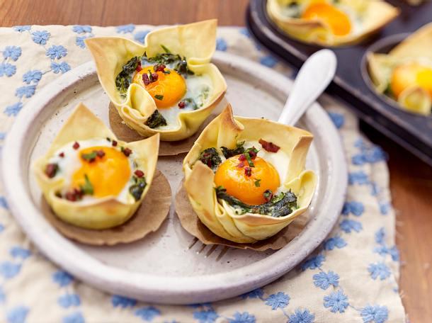 Nudelmuffins mit Spinat und Schinken-Gremolata Rezept