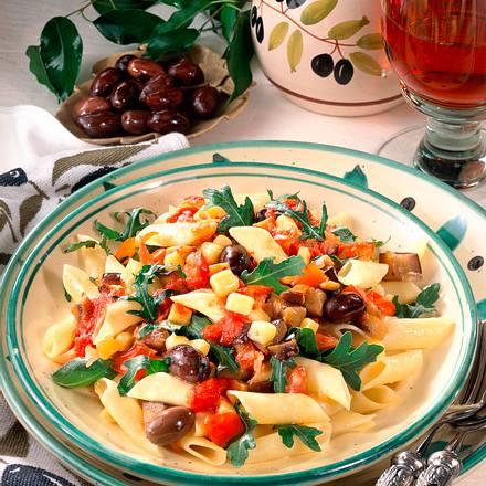 Nudeln mit Auberginen-Gemüse Rezept