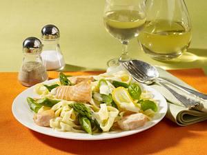 Nudeln mit grünem Spargel und Lachs Rezept