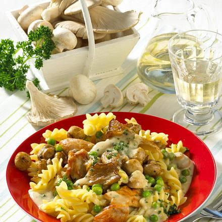 Nudeln mit Hähnchen-Pilz-Soße Rezept