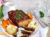 Nuss-Braten mit Käsesoße und Blechgemüse Rezept
