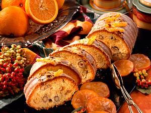 Nusskuchen mit kandierten Orangen Rezept